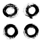 Ensemble de cadres grunges ronds de vecteur main d'éléments dessinée par conception Photographie stock libre de droits