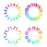 Ensemble de cadres ronds avec des personnes d'arc-en-ciel tenant des mains illustration de vecteur