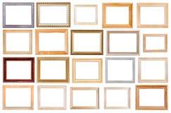 Ensemble de cadres de tableau en bois larges d'isolement Images stock