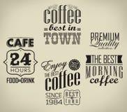 Ensemble de café, éléments typographiques de café Images libres de droits