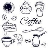 Ensemble de café : cezve, tasse, cuillère, sucre, grains de café, petits gâteaux, tasse de papier croquis image d'isolement par v Photographie stock libre de droits