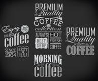 Ensemble de café, label de café, ensemble de typographique Image libre de droits
