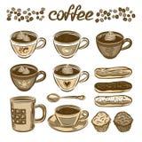Ensemble de café tiré par la main de vecteur Cuvettes et gâteaux de café Image libre de droits