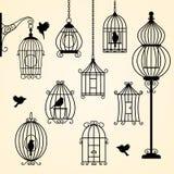 Ensemble de cages d'oiseau de cru Image libre de droits