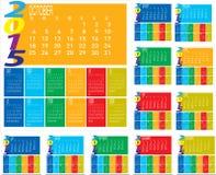 Ensemble de calendrier coloré de l'année 2015 mensuels Photo stock
