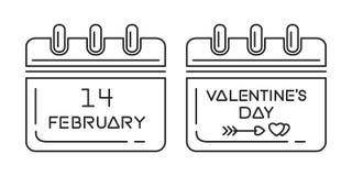 Ensemble de calendrier de jour de valentines Images libres de droits