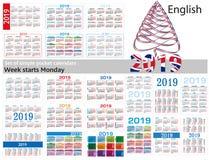 Ensemble de calendriers simples de poche pour 2019 deux mille dix-neuf La semaine commence lundi illustration libre de droits