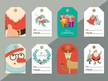 Ensemble de calibre d'étiquettes de cadeau de Noël Boîte imprimable de Noël de vecteur ou l Photo stock