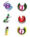 Ensemble de calibre d'icône de logo de Letter J Company Image stock