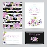 Ensemble de calibre d'invitation de mariage Carte botanique avec des fleurs et des papillons d'hortensia Salutation de la carte p Photographie stock