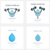 Ensemble de calibre de conception de logo de vecteur d'icône de baisse de l'eau L'eau du monde illustration libre de droits
