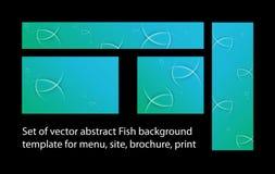 Ensemble de calibre de fond de poissons de vecteur pour le menu, brochure, copie Photo stock