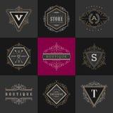 Ensemble de calibre de logo de monogramme Images stock