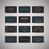 Ensemble de calibre de luxe de conception de menu de restaurant de salutation de vintage Images libres de droits