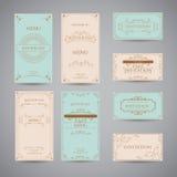 Ensemble de calibre de luxe de conception de menu de restaurant de salutation de vintage Image stock