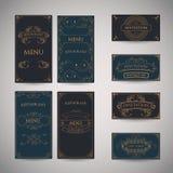 Ensemble de calibre de luxe de conception de menu de restaurant de salutation de vintage Photographie stock