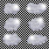 Ensemble de calibre différent transparent réaliste de conception de vecteur de nuages Photo libre de droits