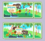 Ensemble de calibre de vecteur de billet d'admission de zoo illustration libre de droits