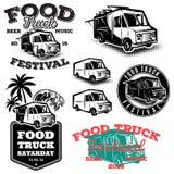 Ensemble de calibres, éléments de conception, emblèmes de style de vintage pour le camion de nourriture Photographie stock