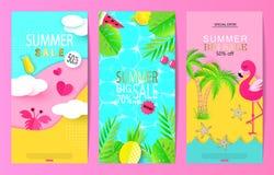 Ensemble de calibres de bannière de vente d'été avec les éléments de papier Dirigez les illustrations pour le site Web et les ban illustration de vecteur