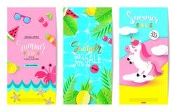 Ensemble de calibres de bannière de vente d'été avec les éléments de papier Dirigez les illustrations pour le site Web et les ban Images libres de droits