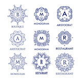 Ensemble de calibres bleus de luxe, simples et élégants de monogramme de conception Image libre de droits
