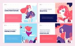 Ensemble de calibres de conception de page Web pour la beauté, station thermale, bien-être, produits naturels, cosmétiques, soin  Photo stock
