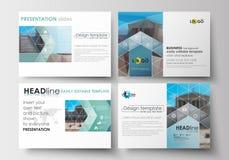 Ensemble de calibres d'affaires pour des glissières de présentation Dispositions editable faciles dans la conception plate Fond a Photographie stock