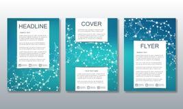 Ensemble de calibres d'affaires pour la brochure, insecte, magazine de couverture dans la taille A4 Molécule de structure de l'AD Image stock
