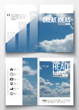 Ensemble de calibres d'affaires pour la brochure, la magazine, l'insecte, le livret ou le rapport annuel  Beau ciel bleu, abstrai Images libres de droits
