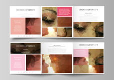 Ensemble de calibres d'affaires pour les brochures carrées triples de conception Couverture de tract, disposition abstraite de ve illustration libre de droits
