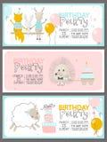 Ensemble de calibres d'invitation de fête d'anniversaire avec les animaux mignons Illustration de vecteur illustration libre de droits