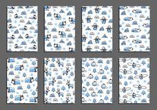 Ensemble de calibres de carte de voeux de vecteur avec les animaux arctiques Photographie stock