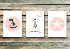 Ensemble de calibres de cartes dans le style marin Carte élégante d'invitation Carte de voeux Lumière à l'intérieur de vous - cit illustration de vecteur