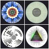 Ensemble de 4 calibres de couverture d'album de musique illustration libre de droits