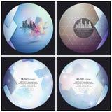Ensemble de 4 calibres de couverture d'album de musique Résumé illustration libre de droits