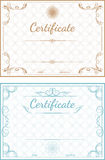 Ensemble de calibres de vecteur des certificats sur un dos bleu et beige Photographie stock libre de droits