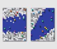 Ensemble de calibres des insectes d'affaires avec la mosaïque carrée Graphiques modernes sur le sujet de technologie illustration stock