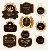 Ensemble de calibres fleuris de label dans le style baroque illustration stock