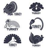Ensemble de calibres graphiques stylisés de logo de dinde illustration libre de droits