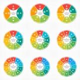 Ensemble de calibres infographic de cercle de graphique circulaire de vecteur avec 4-12 options illustration libre de droits