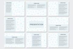 Ensemble de calibres modernes de présentation d'affaires dans la taille A4 Structure de connexion Fond abstrait avec de l'ADN de  Image libre de droits