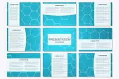 Ensemble de calibres modernes de présentation d'affaires dans la taille A4 Structure de connexion Fond abstrait avec la molécule Photographie stock