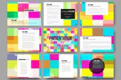 Ensemble de 9 calibres pour des glissières de présentation Fond coloré abstrait d'affaires, texture élégante moderne de vecteur Photographie stock libre de droits