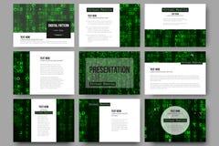 Ensemble de 9 calibres pour des glissières de présentation Réalité virtuelle, fond abstrait de technologie avec des symboles vert Photographie stock libre de droits