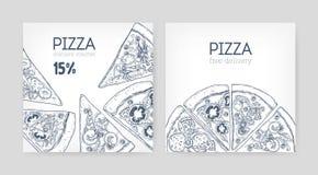 Ensemble de calibres promotionnels carrés de bon de bon ou de remise avec la pizza tirée par la main avec des courbes de niveau s illustration stock