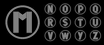 Ensemble 2 de calibres de quatre majuscules de la rayure blanche en cercle noir Recouvrement avec des ombres logo Photos libres de droits
