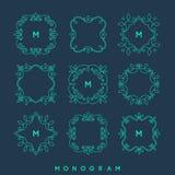 Ensemble de calibres simples et élégants de conception de monogramme Images stock