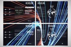 Ensemble de calibres triples de brochure des deux côtés avec l'élément de globe du monde Le résumé raye le fond, conception de mo Photographie stock