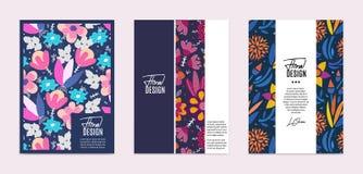 Ensemble de calibres de vecteur Fleurs abstraites tirées par la main avec différentes textures Composition florale photo libre de droits